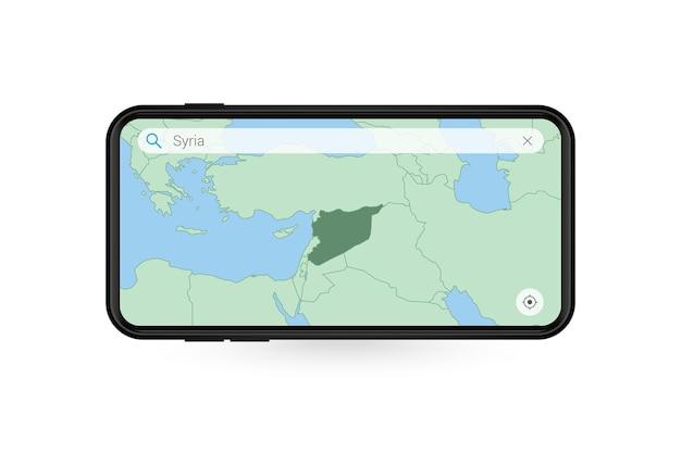 Pesquisando o mapa da síria no aplicativo de mapa do smartphone. mapa da síria no celular.