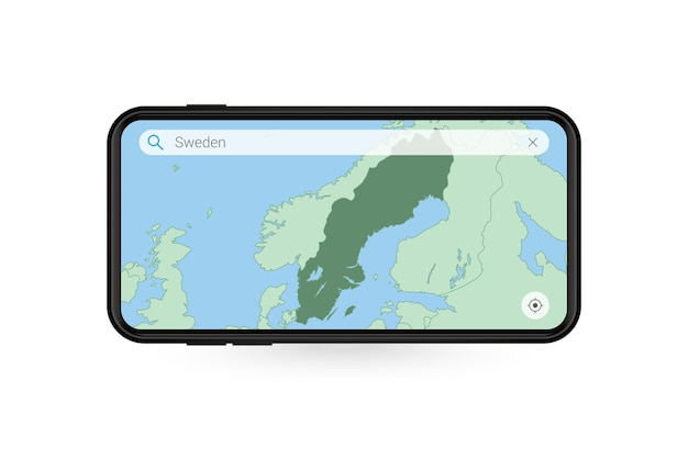 Pesquisando o mapa da suécia no aplicativo de mapa do smartphone. mapa da suécia.