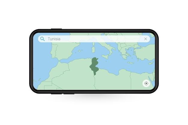 Pesquisando o mapa da tunísia no aplicativo de mapa do smartphone. mapa da tunísia no telefone celular.