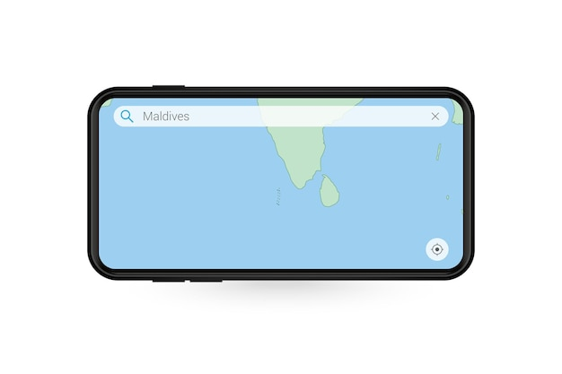 Pesquisando o mapa das maldivas no aplicativo de mapa do smartphone. mapa das maldivas no telefone celular.
