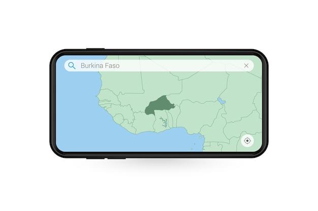 Pesquisando o mapa de burkina faso no aplicativo de mapa do smartphone. mapa de burkina faso no celular.