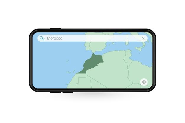 Pesquisando o mapa de marrocos no aplicativo de mapa do smartphone. mapa de marrocos no celular.