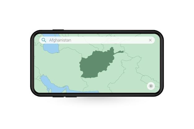 Pesquisando o mapa do afeganistão no aplicativo de mapa do smartphone. mapa do afeganistão no celular.