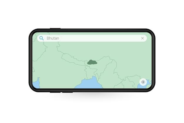 Pesquisando o mapa do butão no aplicativo de mapa do smartphone. mapa do butão no telefone celular.