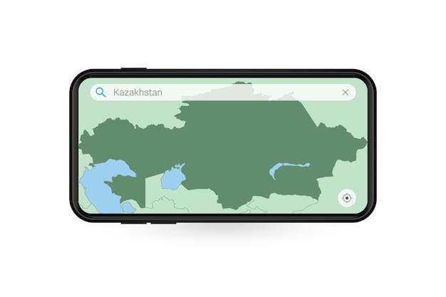 Pesquisando o mapa do cazaquistão no aplicativo de mapa do smartphone. mapa do cazaquistão no telefone celular.