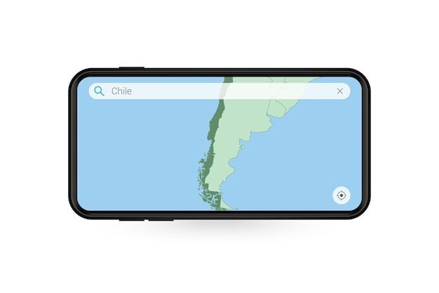 Pesquisando o mapa do chile no aplicativo de mapas do smartphone. mapa do chile no celular.