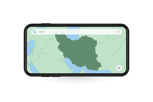 Pesquisando o mapa do irã no aplicativo de mapa do smartphone. mapa do irã no telefone celular.