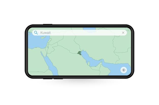 Pesquisando o mapa do kuwait no aplicativo de mapa do smartphone. mapa do kuwait no telefone celular.
