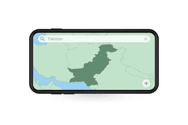 Pesquisando o mapa do paquistão no aplicativo de mapa do smartphone. mapa do paquistão no telefone celular.