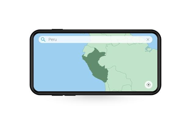 Pesquisando o mapa do peru no aplicativo de mapa do smartphone. mapa do peru no celular.