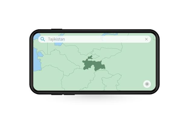 Pesquisando o mapa do tajiquistão no aplicativo de mapa do smartphone. mapa do tajiquistão no telefone celular.