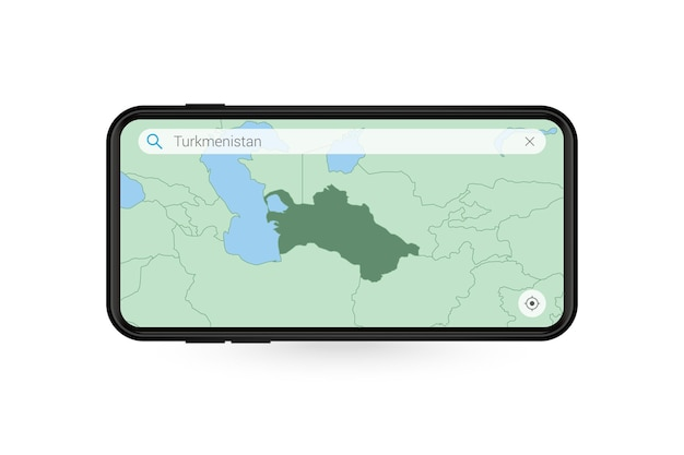 Pesquisando o mapa do turcomenistão no aplicativo de mapa do smartphone. mapa do turcomenistão no telefone celular.