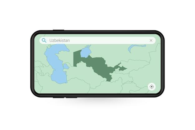 Pesquisando o mapa do uzbequistão no aplicativo de mapa do smartphone. mapa do uzbequistão no celular.