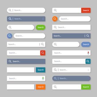 Pesquisar interface do usuário. barras de busca na internet com botões, caixas de interface do navegador da web para o menu do site.