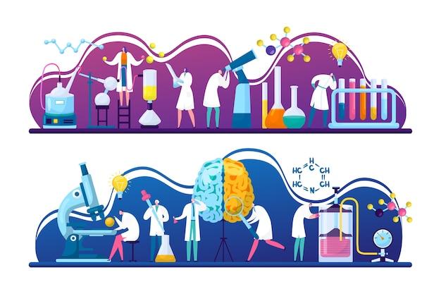 Pesquisas de descoberta de cientistas em química, biologia ou medicina