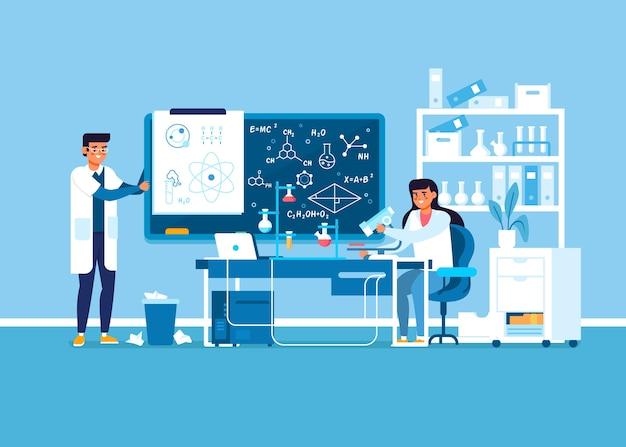 Pesquisas em casacos trabalhando em um laboratório de ciências