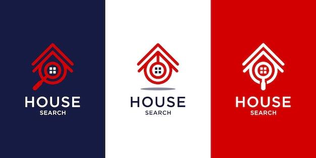 Pesquise o design do logotipo da casa com estilo de arte de linha