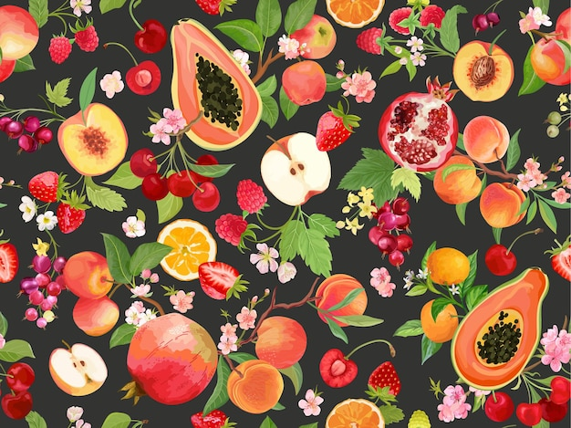 Pêssego aquarela, morango, groselha preta, cereja, maçã, tangerina, padrão sem emenda laranja. fundo de frutas tropicais de verão. capa de primavera de ilustração vetorial, textura tropical, pano de fundo