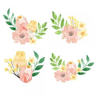 Pêssego da aguarela e arranjo floral amarelo da flor