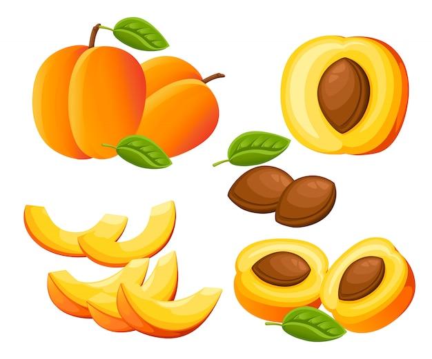 Pêssego e fatias de pêssegos. ilustração de pêssegos. ilustração para cartaz decorativo, produto natural emblema, mercado dos fazendeiros. página do site e aplicativo para celular