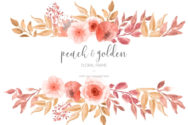 Pêssego e moldura floral dourada