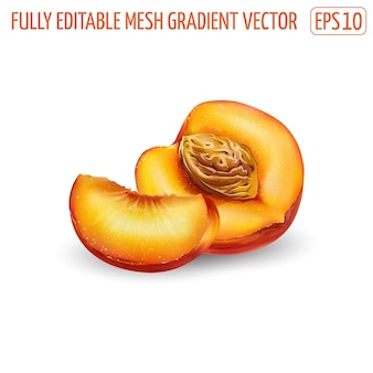 Pêssego maduro fresco - projeto de comida saudável. ilustração realista.