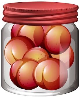 Pêssego na jarra de vidro