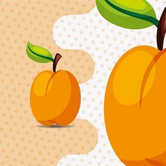 Pêssego natural da fruta fresca no fundo dos pontos