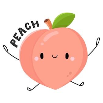 Pêssego, personagem de desenho animado de frutas e vegetais fofos