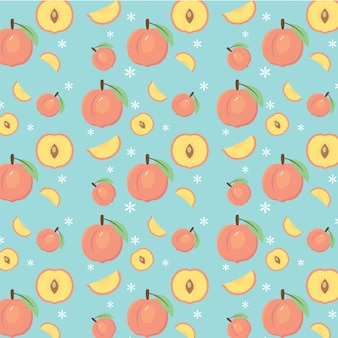Pêssegos de vetor e padrão de frutas