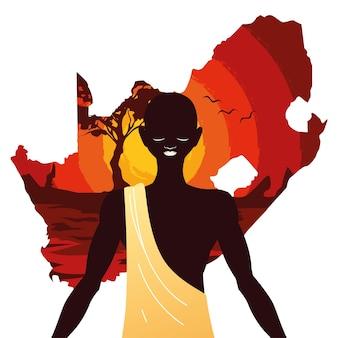 Pessoa afro com o mapa da áfrica do sul ao fundo.