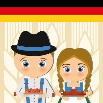Pessoa alemã em trajes tradicionais