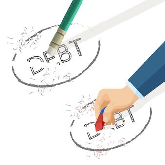 Pessoa apagar palavra dívida escrita em papel.