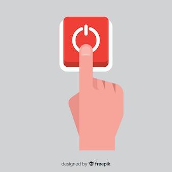 Pessoa, apertando, começar, botão