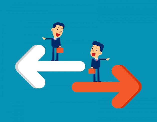 Pessoa apontando para direção diferente
