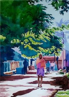 Pessoa caminhando no parque com ilustração desenhada à mão