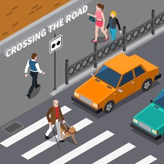 Pessoa cega na ilustração isométrica de faixa de pedestres