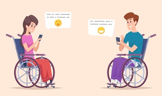 Pessoa com deficiência online. personagens com deficiência, namorando e conversando com ilustração de deficientes físicos em smartphone. pessoas com deficiência online, suporte para deficientes