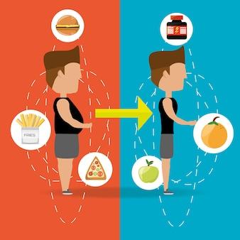 Pessoa com depois e antes da silhueta do corpo