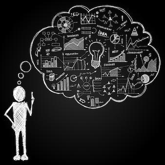 Pessoa, com, doodle, fala, bolha