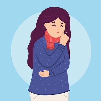 Pessoa com ilustração fria