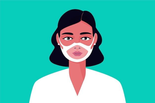 Pessoa com máscara facial transparente para surdos