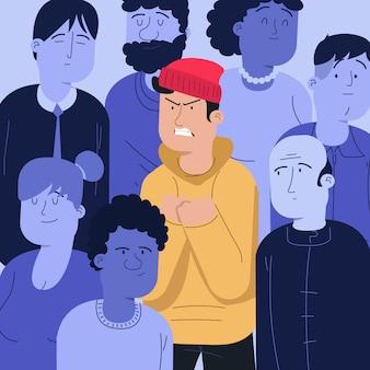 Pessoa com raiva na multidão