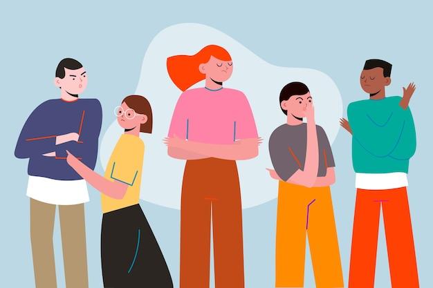 Pessoa com raiva no conceito de multidão para ilustração