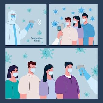 Pessoa com roupa de desinfecção, com termômetro infravermelho sem contato digital, cenário