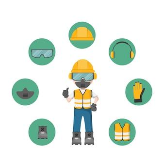 Pessoa com seu equipamento de proteção individual e ícones de segurança industrial