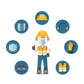 Pessoa com seu equipamento de proteção individual, máscara facial e ícones de segurança industrial