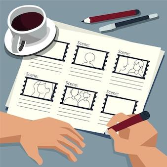 Pessoa com storyboard e café