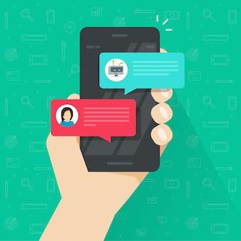 Pessoa, conversando, com, chatbot, em, telefone móvel, ou, smartphone, vetorial, em, apartamento, caricatura