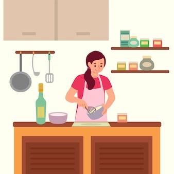 Pessoa, cozinhar, ilustração